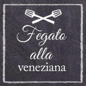fegato alla veneziana sfondo nero scritta bianca