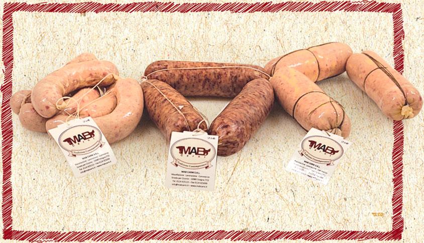 varieta salsicce fresche con etichette